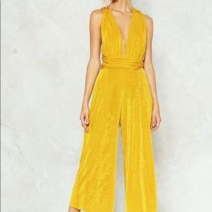 Nasty Gal Pants - Nasty Gal Yellow Velvet JumpSuit
